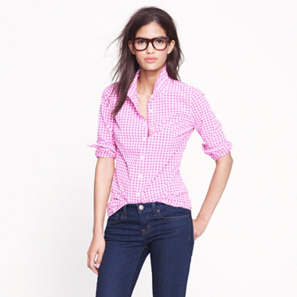 J. Crew Tops - J. Crew pink and white mini-gingham perfect shirt
